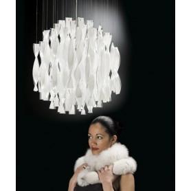 Axo Light Aura SP45 Lampadario Vetro di Murano Acciaio Lucido