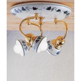 Ferroluce Savona C178 PL Lampada Soffitto in Ceramica 3 Luci