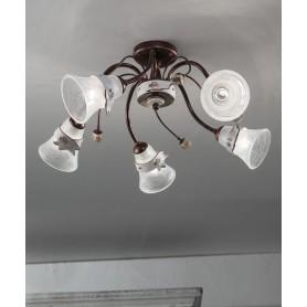 Ferroluce Venezia C1005 PL Lampada Soffitto Ceramica 5 Luci
