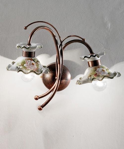 Ferroluce Milano C1117 AP Lampada Parete in Ceramica 2 Luci