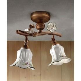 Ferroluce Pisa C1206/2 PL Lampada Soffitto Ceramica 2 Luci