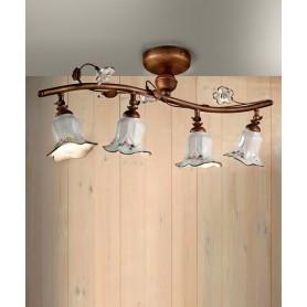 Ferroluce Pisa C1206/4 PL Lampada Soffitto Ceramica 4 Luci