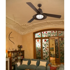 Faro Winch Fan 33396 Ventilatore da Soffitto con Luce Marrone