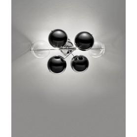 METAL LUX Atom 255.102.MC Applique 2 Luci Trasparente-Nero