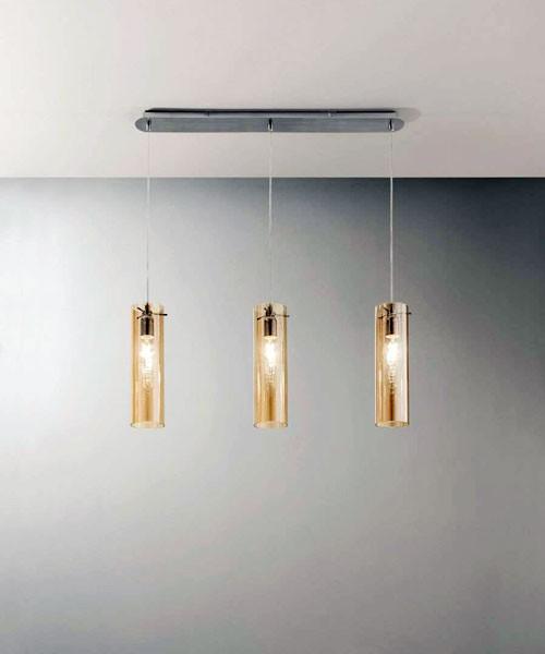 FABAS Sintesi 3480-47-125 Lampadario Moderno 3 Luci Ambra