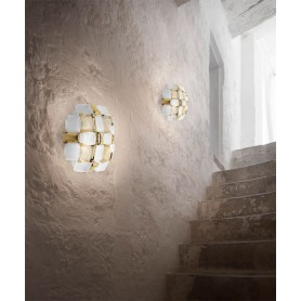 SLAMP Mida White/Gold Applique Moderna 32cm Bianco/Oro