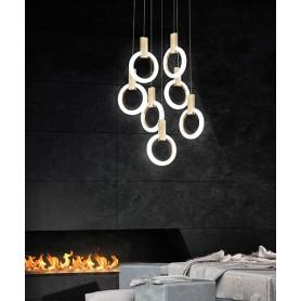 SIKREA Matilde/7 2086 Lampadario Moderno LED Pendenti Effetto Legno