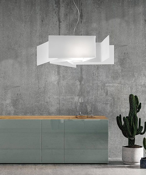 SIKREA Greta/S5 3365 Lampadario Moderno in Vetro Bianco