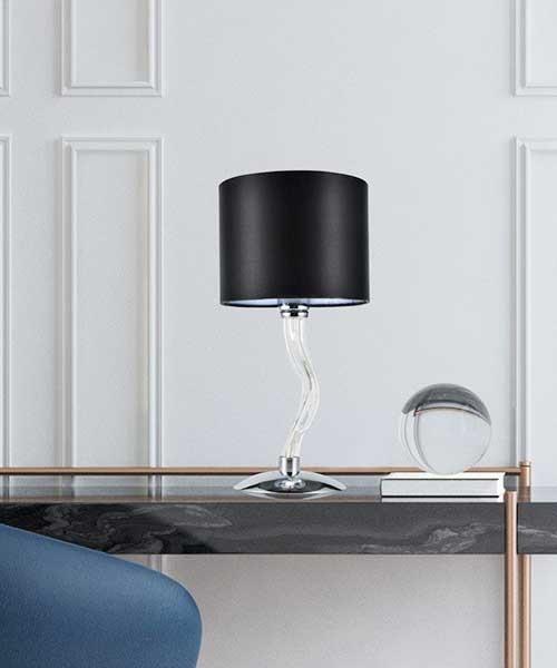 SIKREA Ester/L 2871 Lampada in Vetro da Tavolo 1 Luce con Paralume