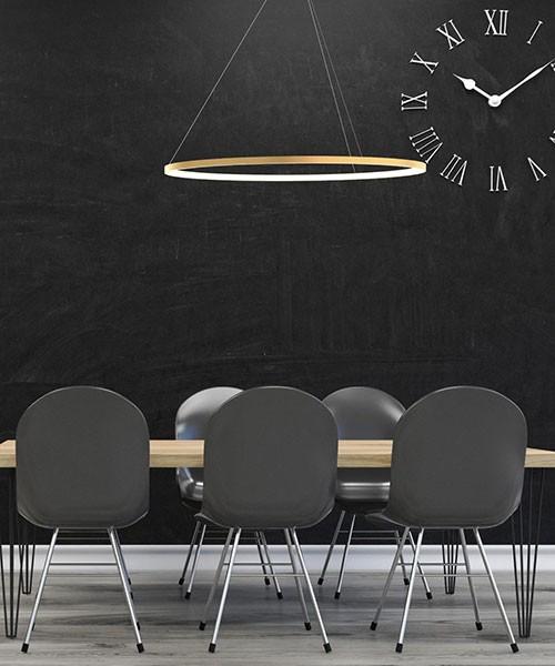 SIKREA Oslo/O 2529 Lampadario Moderno a LED-Tondo Ottone