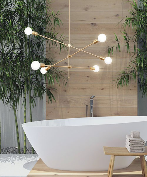 SIKREA Anna / 6 2048 Modern Brushed Brass Chandelier 5 Lights