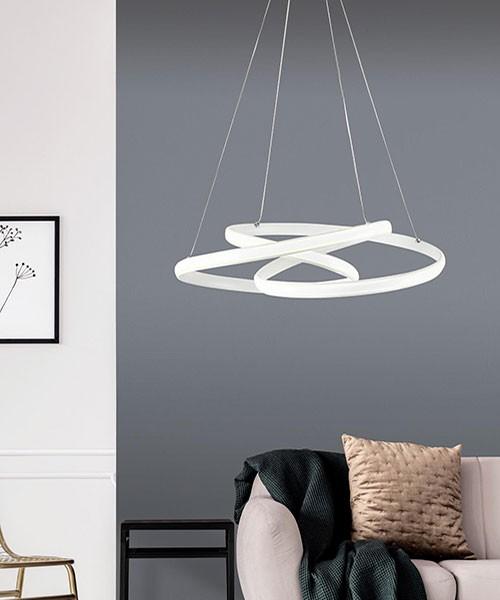 SIKREA Giove/B 2413 Lampadario Moderno LED Bianco