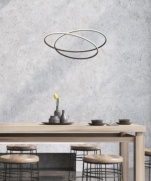 SIKREA Glem 60 /C 2369 Lampadario Moderno LED Caffè Nero