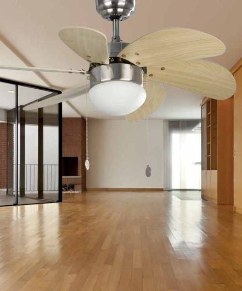 Faro Palao 33183 Ventilatore da Soffitto con Luce Nichel