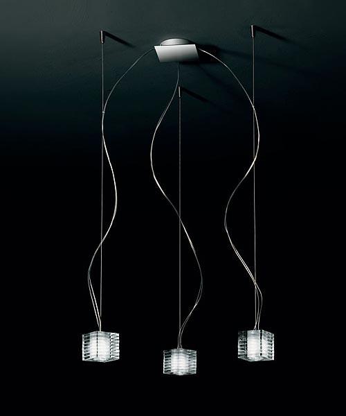 De Majo Otto x Otto S3D Lampada Sospensione 3 Luci Cristallo