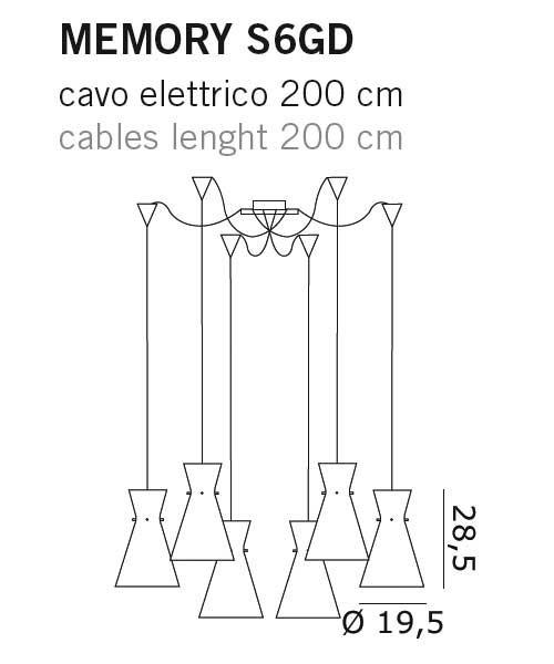 De Majo Memory S6GD Lampada Sospensione Cristallo
