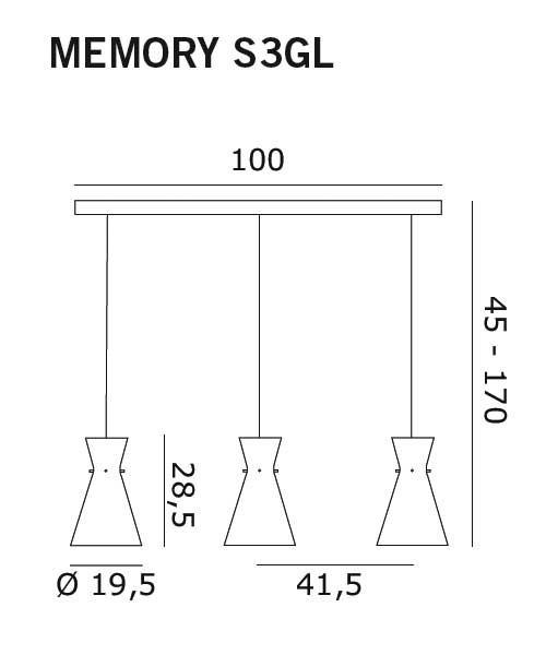 De Majo Memory S3GL Lampada Sospensione Cristallo