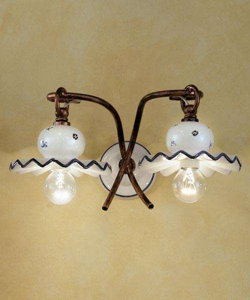 Ferroluce Roma C401 AP Lampada Parete Rustica in Ceramica 2 Luci